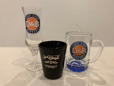 Set Of 3 Collectible Shot Glasses By Dave N Busters Jack Daniels Cool Barware 🥃