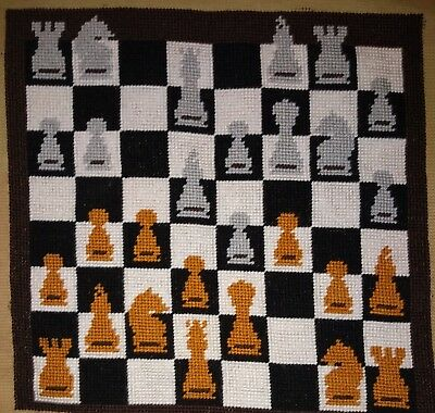Modern Tapestry: Unique Handmade 'Chess' Sampler