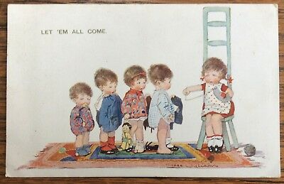 Vintage Artist Signed Pc Young Girl Seated On Chair Knitting & 4 Other Children