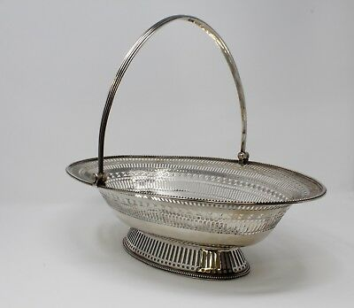 English, Sterling Silver, London, 1781 Pierced Cake Basket