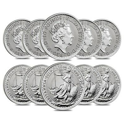 Lot of 10 - 2019 Great Britain 1/10 oz Platinum Britannia Coin .9995 Fine BU