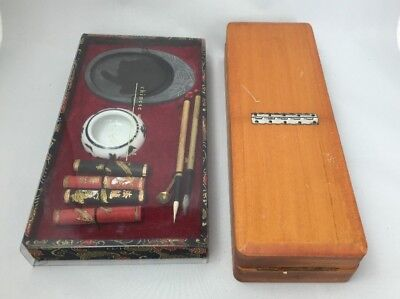 Lot Of 2 Oriental Calligraphy Writing Set In  Box Carved Accessories