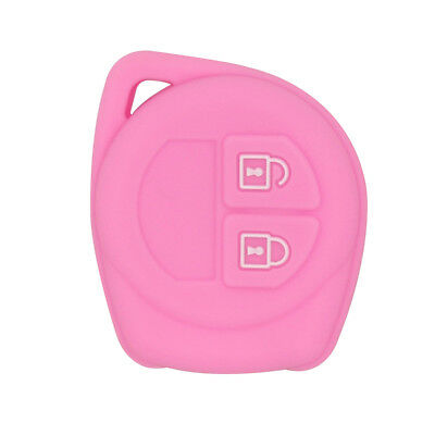 Car Silicone Remote Key Case Cover Shell Skin Durable For Suzuki Pink