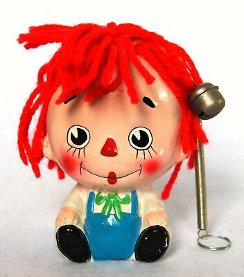 Rare Vintage 70's Enesco Raggedy Andy Hanging Ceramic Bank Figure With Yarn Hair