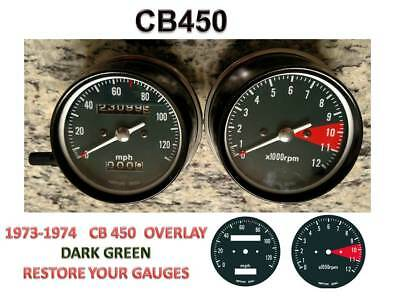 Honda CB450 K Overlay Cafe Racer Gauge Face Decal Applique mph Dial Clocks Green