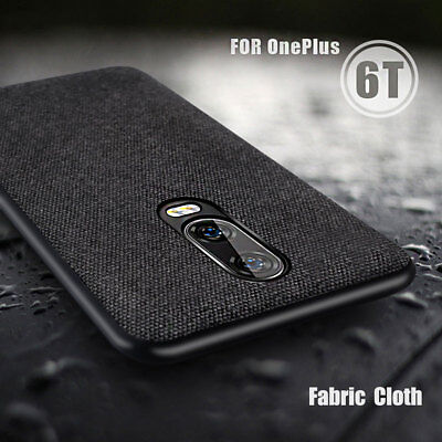 For OnePlus 1+ 6T Case Cover One Plus Back Cover Fabric Shockproof Silicone Edge