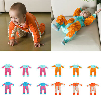 Baby Mop Romper Outfit Unisex Boys Girls Polishes Floors Cleaning Swob Jumpsuit