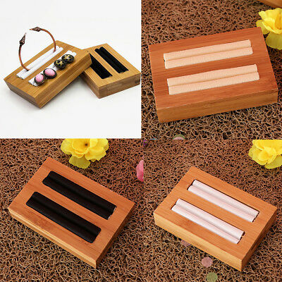Solid Wood Jewelry Display Tray with Microfiber Flat Bangle Bracelet Holder