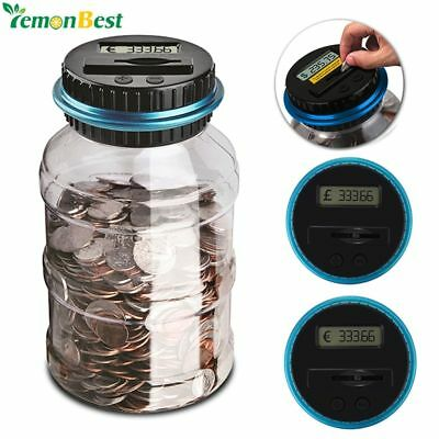 Bank Counter Coin Electronic Digital LCD Counting Coin Money Saving Box Jar
