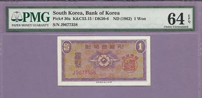 "1962 South Korea  Pick 30a  PMG EPQ   ""SCROLL DOWN FOR SCANS"""
