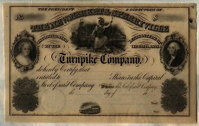 The Newmarket & Sperryville Turnpike Company Stock Certificate Virginia