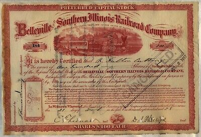 1878 Belleville and Southern Illinois Railroad Company Stock Certificate