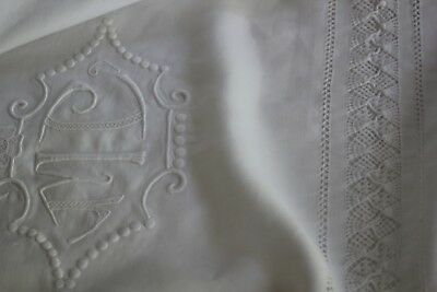 Antique French White Linen  Fil Sheet- Pillow Case- Bolster  Mc Monogram 94 ""