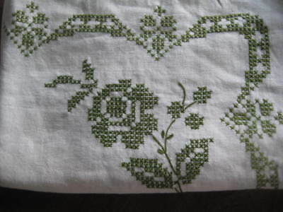 Vintage Linen  Hand Embroidered  Rectangle Table Cloth