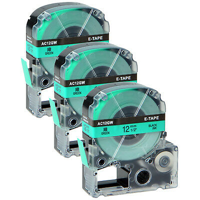 3 PK Black on Green 12mm LC-4GBP Label Tape Compatible for LW-500 1000P 900P 8m