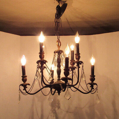 Antique French Prism Chandelier, Unique, Black & Gold, 2 Tiered, 8 Lights,