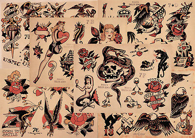 "Sailor Jerry Traditional Tattoo Flash 6 Sheets 11x14"" Set 2 Skulls Hearts Eagles"
