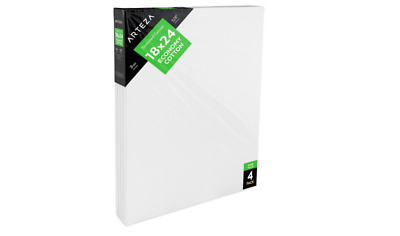 Arteza Blank Pre Stretched Canvas for Painting 18x24, Pack of 4, Primed, 100%
