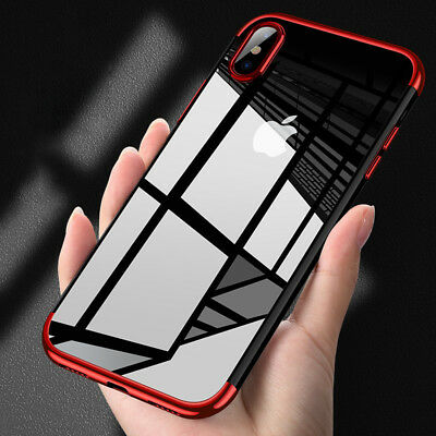iPhone X XS Max XR Shockproof Plating Clear Slim Hybrid Bumper Case Cover