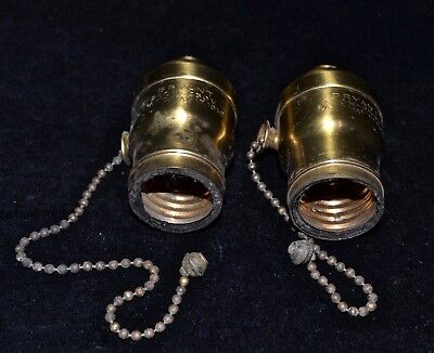 Antique Vintage Brass PAIR 1910 BRYANT Ball Pull Chain Light Fat Boy Sockets