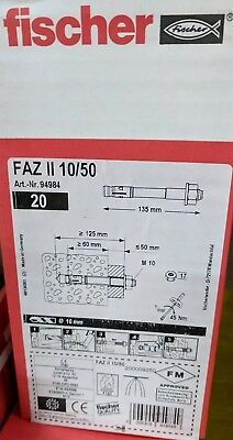 Fischer FAZ II 10/50 Bolt Anchor 20 Pack  94984 NEW