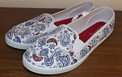 Coral Bay Womens Ava Flag Canvas Shoes 9 Red//white//blue