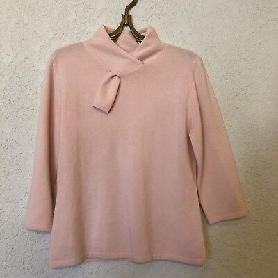 Vintage Neiman Marcus Sweater 100% Cashmere Pink Scarf Collar Blush Light