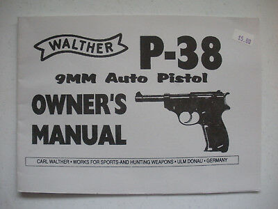 WALTHER MODEL P-38 Owners Manual Reproduction - $9 95 | PicClick