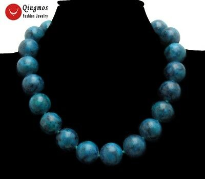 "Natural 18mm Round Green Chrysocolla Chokers Necklace for Women Jewelry 17"" 5316"