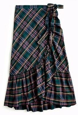 NWT J Crew Ultimate Ruffle Wrap Skirt in Signature Tartan Plaid Sz 0 Navy Green