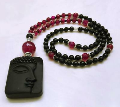 Buddha Face Pendant Obsidian Beads Necklace 100% Unisex Carved Fashion rope