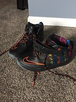 50ee840e761 Nike Youth Lebron Air Akronite Gs Basketball Shoes Black Hyper Orange Size  7Y