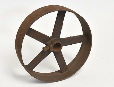Vintage Industrial Large Iron Wheel Or Belt Pulley 5 Spokes 8 Inch Steampunk