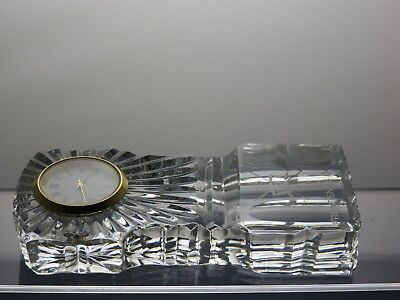 Lead Crystal Cut Glass Desk Clock