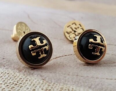 eddcdd6c01c47 TORY BURCH MELODIE STUD EARRINGS BLACK Tory Gold NWT+ POUCH -  50.00 ...