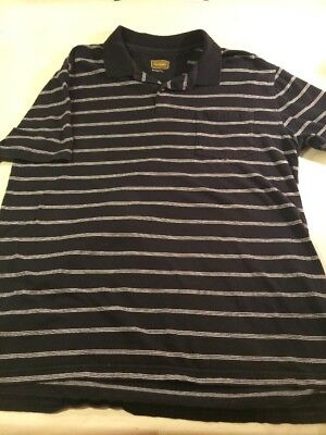 a2cae08fbf THE FOUNDRY SUPPLY CO. Mens Polo Shirt XLT Extra Large Tall Black White  Stripe