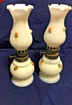 Two Matching COLLECTABLE VINTAGE MILK GLASS OIL LAMPS with ROSES