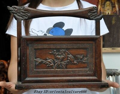 Old Chinese Huanghuali Wood Carved flower Bird Ancient Storage Makeup box Drawer