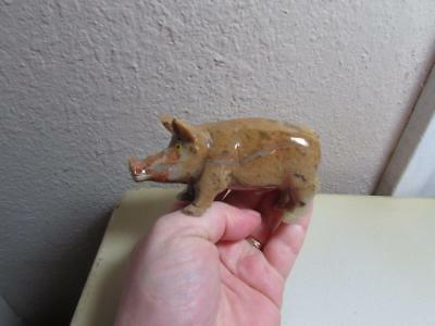 Pig, Hand carved Stone from the Andes of Peru. Rich Multi Colored Unique Pig