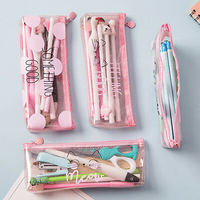 Cute Pink transparent Pencil Pen Case Makeup Bag Storage Pouch Purse Stationery