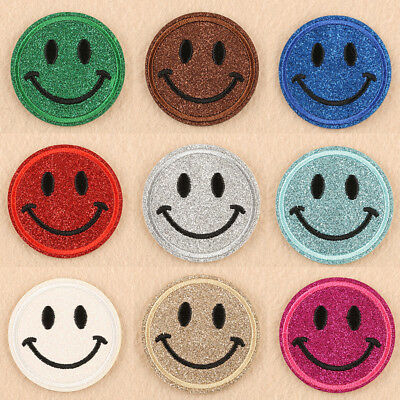Smiley Face Embroidered Applique Iron On Patch design Sew Iron On Patch Badge