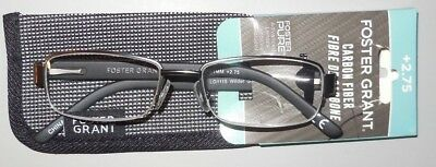 ea42b80f1dfc +2.75 Foster Grant Carbon Fiber Wilder Gun 1 2 Rim Reading Glasses w Soft