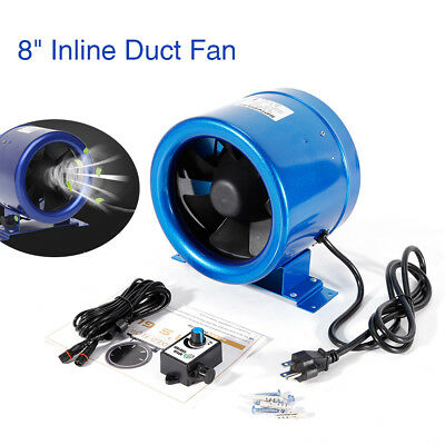 """700CFM 8"""" Inch Inline Duct Fan Variable Speed Controller Exhaust Intake Blower"""