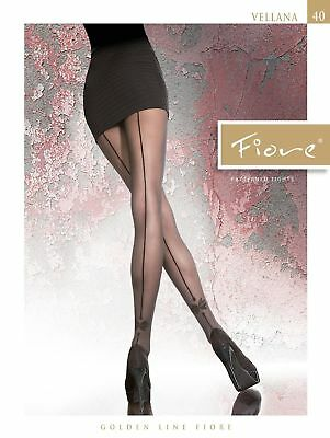 Fiore Vellana Backseam Patterned Pantyhose Tights 40 Denier Black 3 Sizes