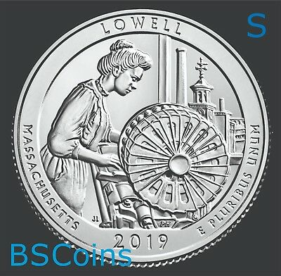 2019 S ATB Qtrs Lowell Nat Hist Park, MA - BU ONE Coin - In Stock - Ship TODAY!!