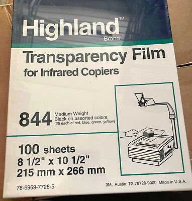 Highland TRANSPARENCY FILM for Infrared Copiers #844 Black on Colors NEW Sealed