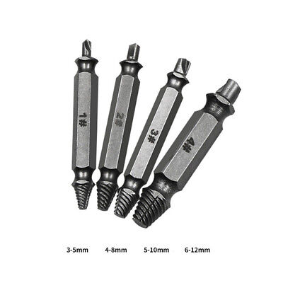 Broken Bolt Damage Screw Remover Extractor Drill Bits Easy Out Stud Reverse 4PCS