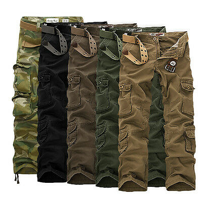 Mens Military Combat Trousers Camouflage Cargo Camo Army Casual Work Pants UK