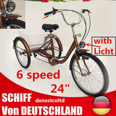 "Adulte Tricycle 24"" roue 6 vitesses tricycle trike cargo Shopping tricycles DHL"