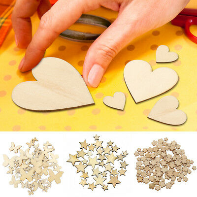 100x Wooden Pieces MDF Hearts Stars Craft DIY Accessories Embellishments 10-40mm